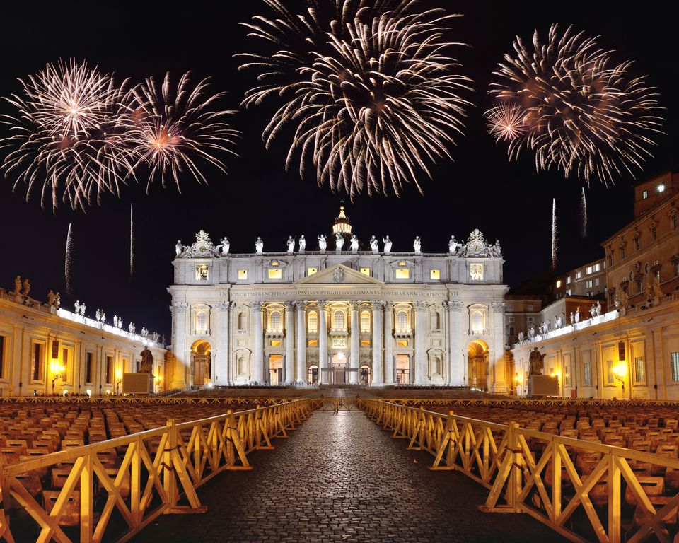 Fireworks blooming over the St. Peter's Cathedral