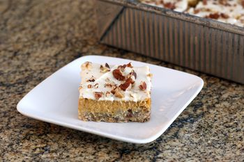 Layered Pumpkin Bars With Cream Cheese And Pecans