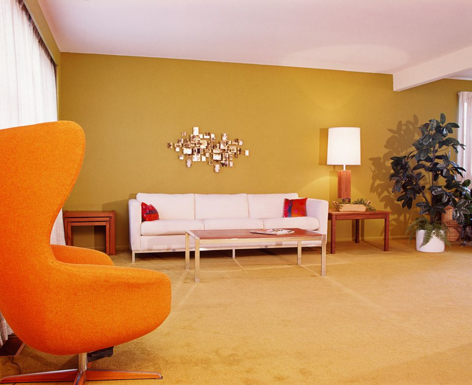 Mid Century Modern Open Plan Living Room With Beam - 56800967