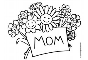 "A bouquet of smiling flowers holding a card that says ""Mom"""
