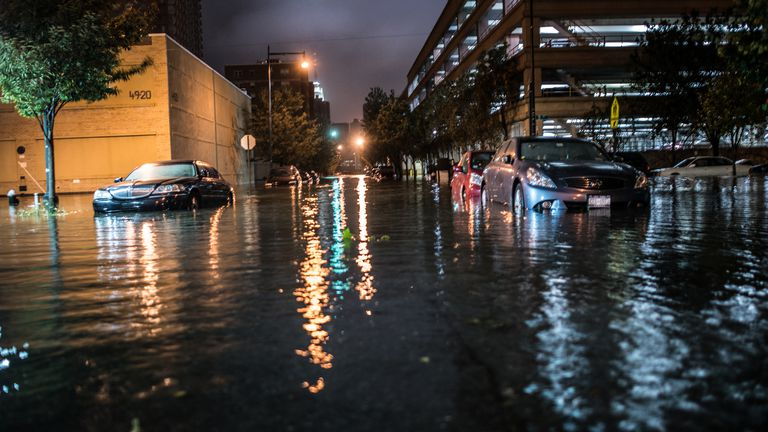 Flooded Cars in the Street
