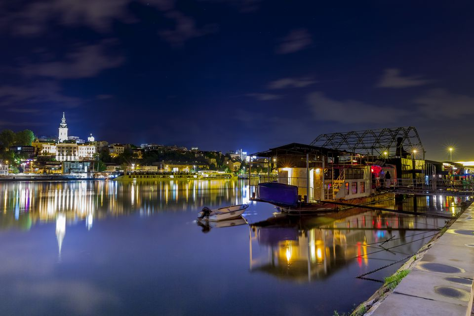 Serbia, Belgrade, Novi Beograd, Savski Venac, Sava River, Party ship and restaurant at riverside