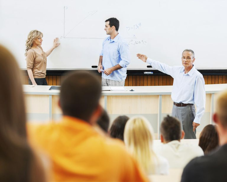 Professors and assistants giving a lecture...