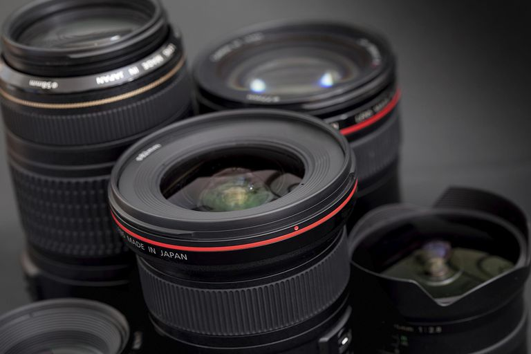 Group of SLR camera lenses