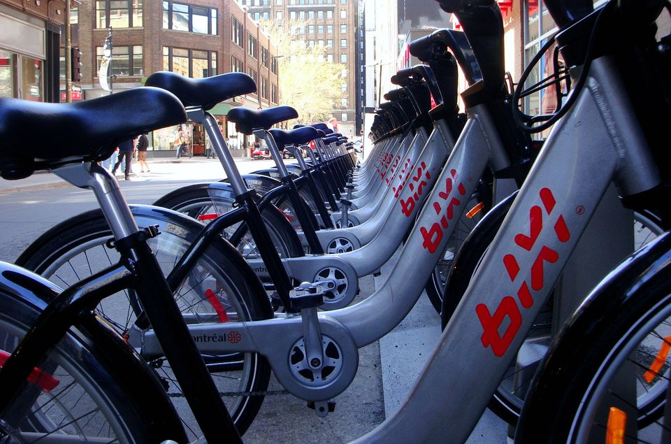 Row of bixi bikes