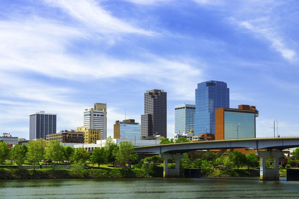 Little Rock downtown skyline with the Arkansas River