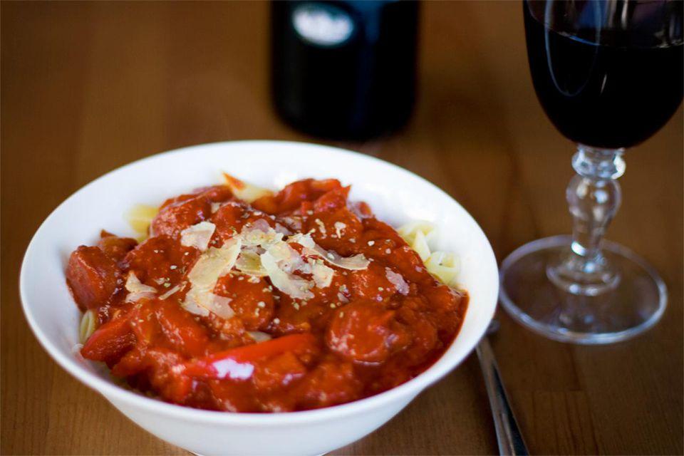 Pasta in Chorizo & Tomato Sauce