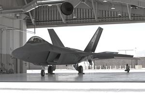 Maintence crews from the 49th Fighter Wing at Holloman Air Force Base, New Mexico, conduct preflight checks on an F-22 Raptor.