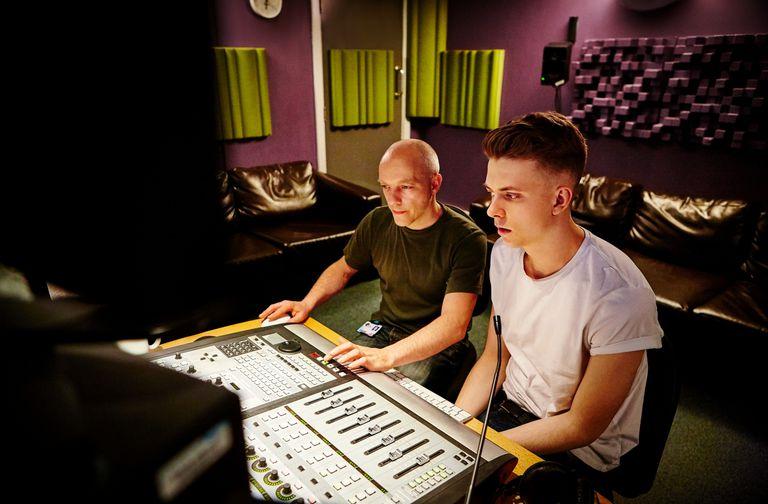 Studio engineers in studio
