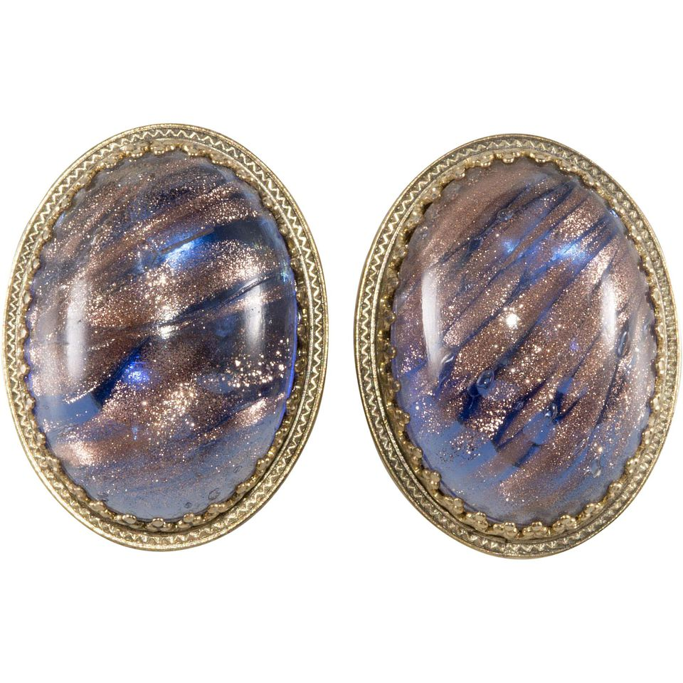 Whiting & Davis Art Glass Earrings, c. 1970s