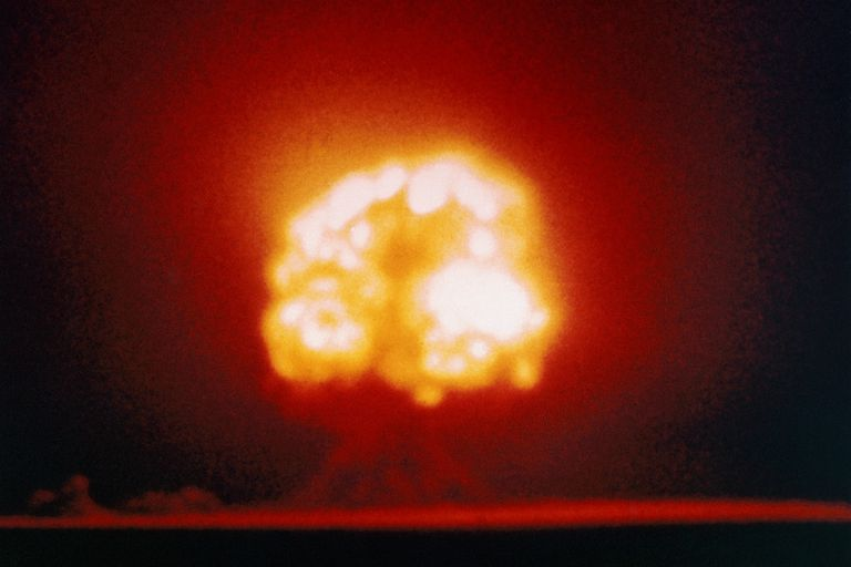 The first atomic bomb explodes at Alamogordo, New Mexico on July 16, 1945
