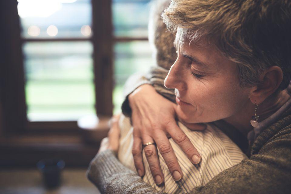 Senior couple embrace