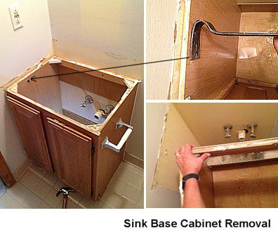 How to remove a bathroom cabinet vanity - Accessible sink base ...