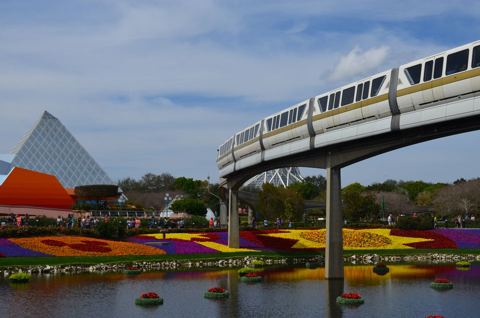 Monorail running through Epcot