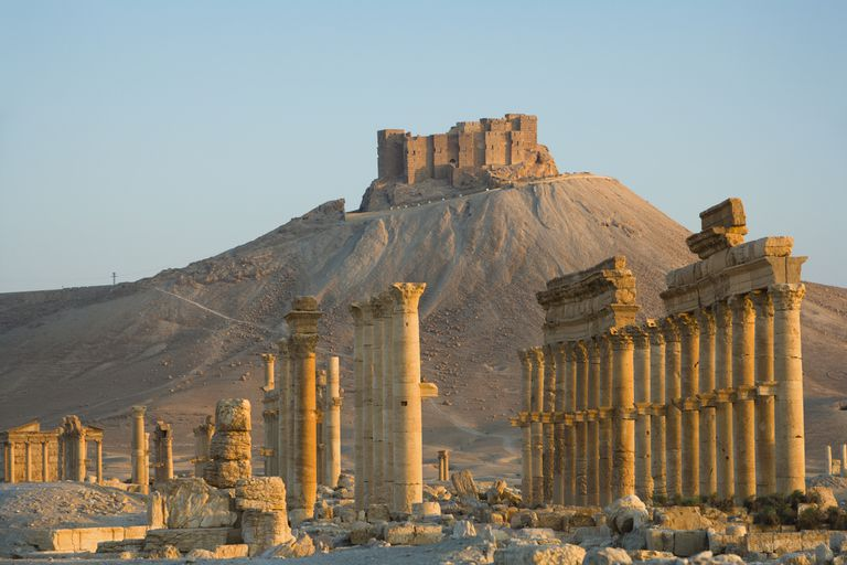 Qala'at ibn Maan Overlooks the Great Colonnade of Palmyra, Syria
