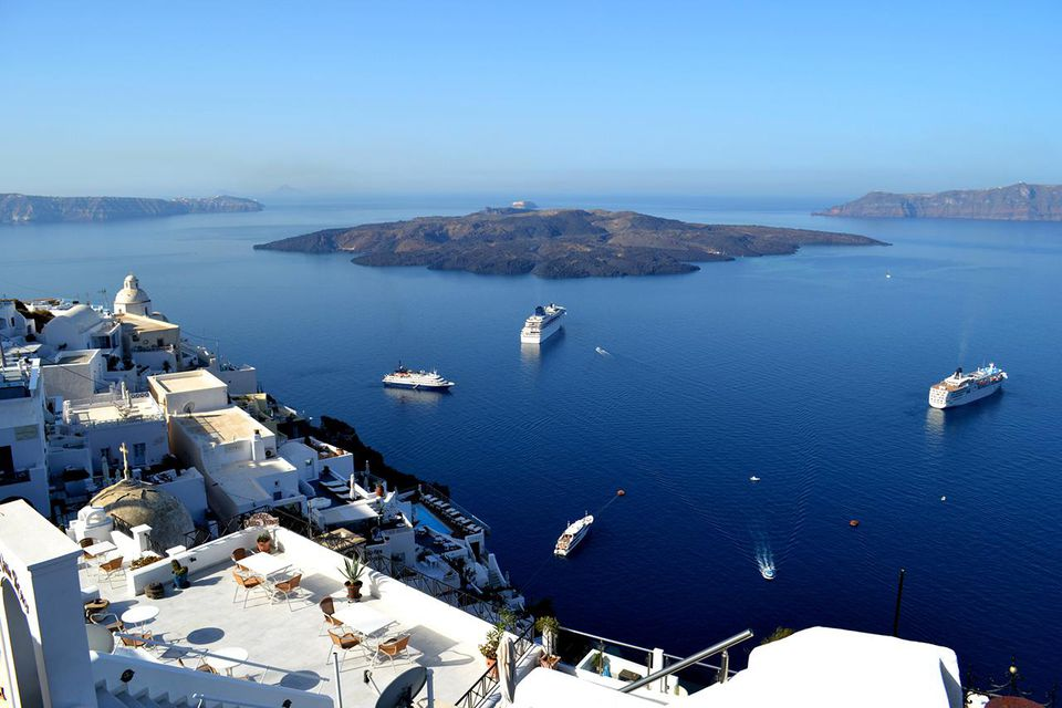 Santorini on a calm day