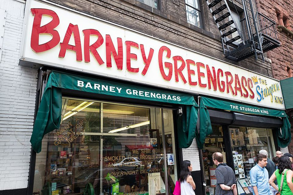 Storefront and sign for Barney Greengrass, a traditional Jewish-style delicatessen originally founded in 1908, on the Upper West Side of Manhattan, New York City, New York, July, 2016.