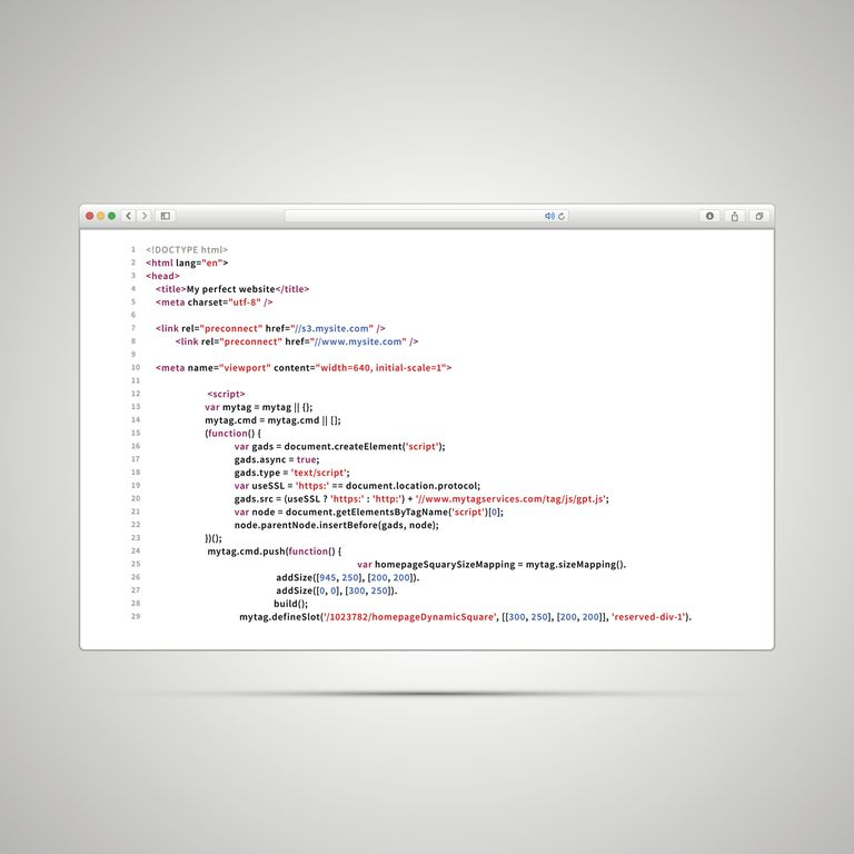 A web page's source code.
