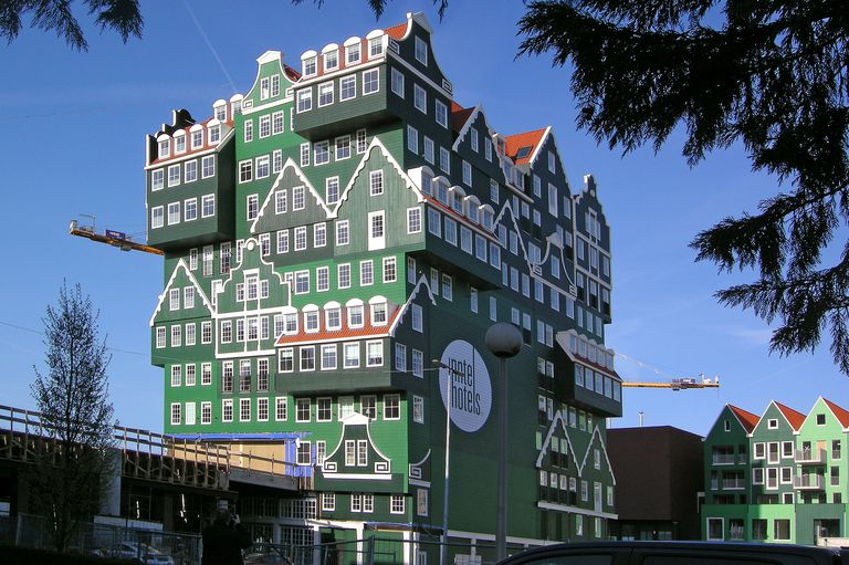 Hotel that looks like many houses stacked on top of each other