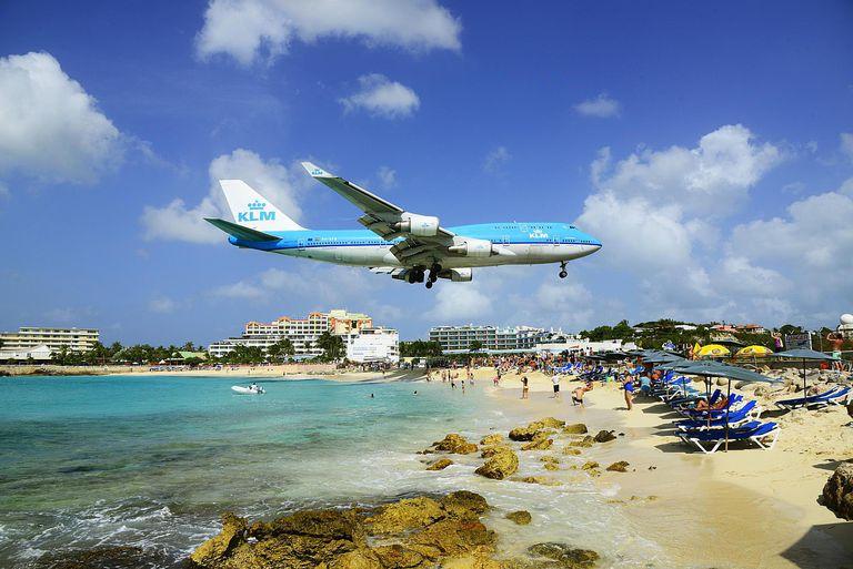 Airplanes landing over Maho beach
