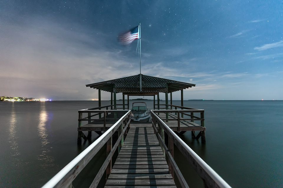 A Cedar Key, Florida dock at night
