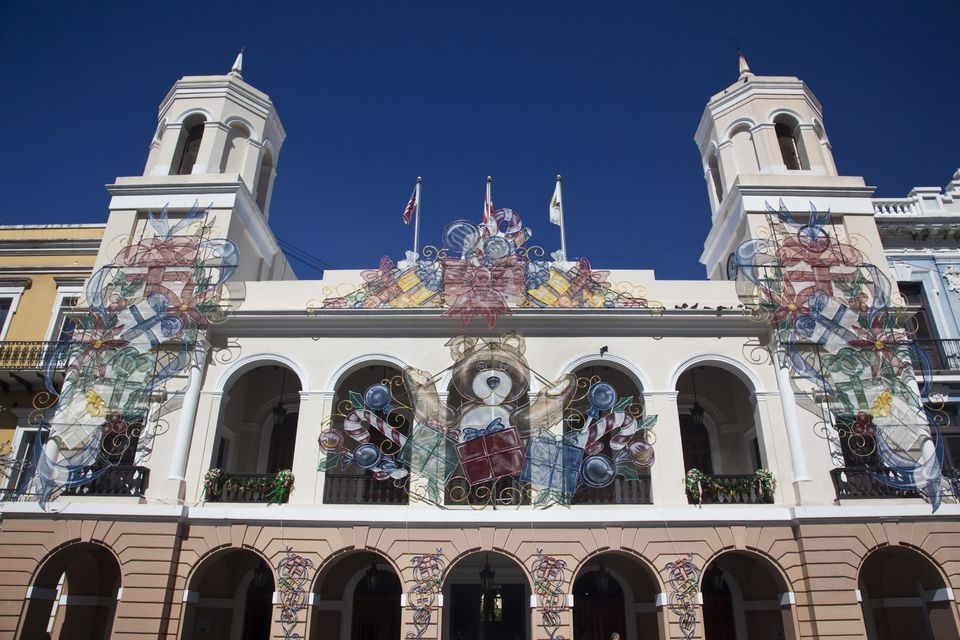 Puerto Rico, San Juan, Old San Juan, Plaza de Armas, Christmas decorations on the Alcaldia, City Hall