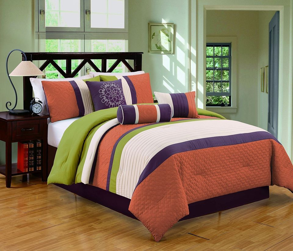 Orange Green And Purple Bed Set