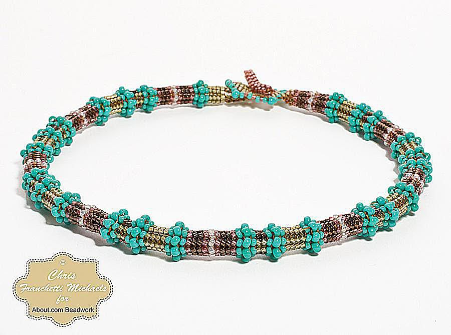 A completed choker made with the tubular herringbone stitch pattern