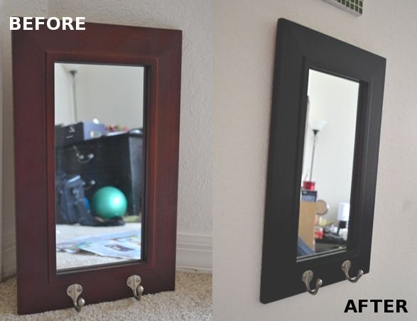 befor and after of mirror diy frame painting