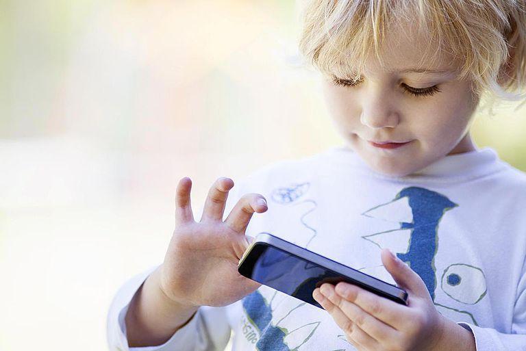 Little boy using smartphone