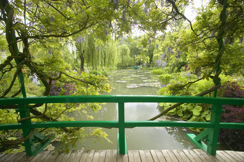 'View of pond and gardens at Giverny from Monet's bridge, Giverny, France'
