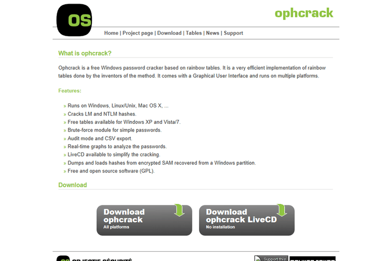 A screenshot of the Ophcrack Home Page
