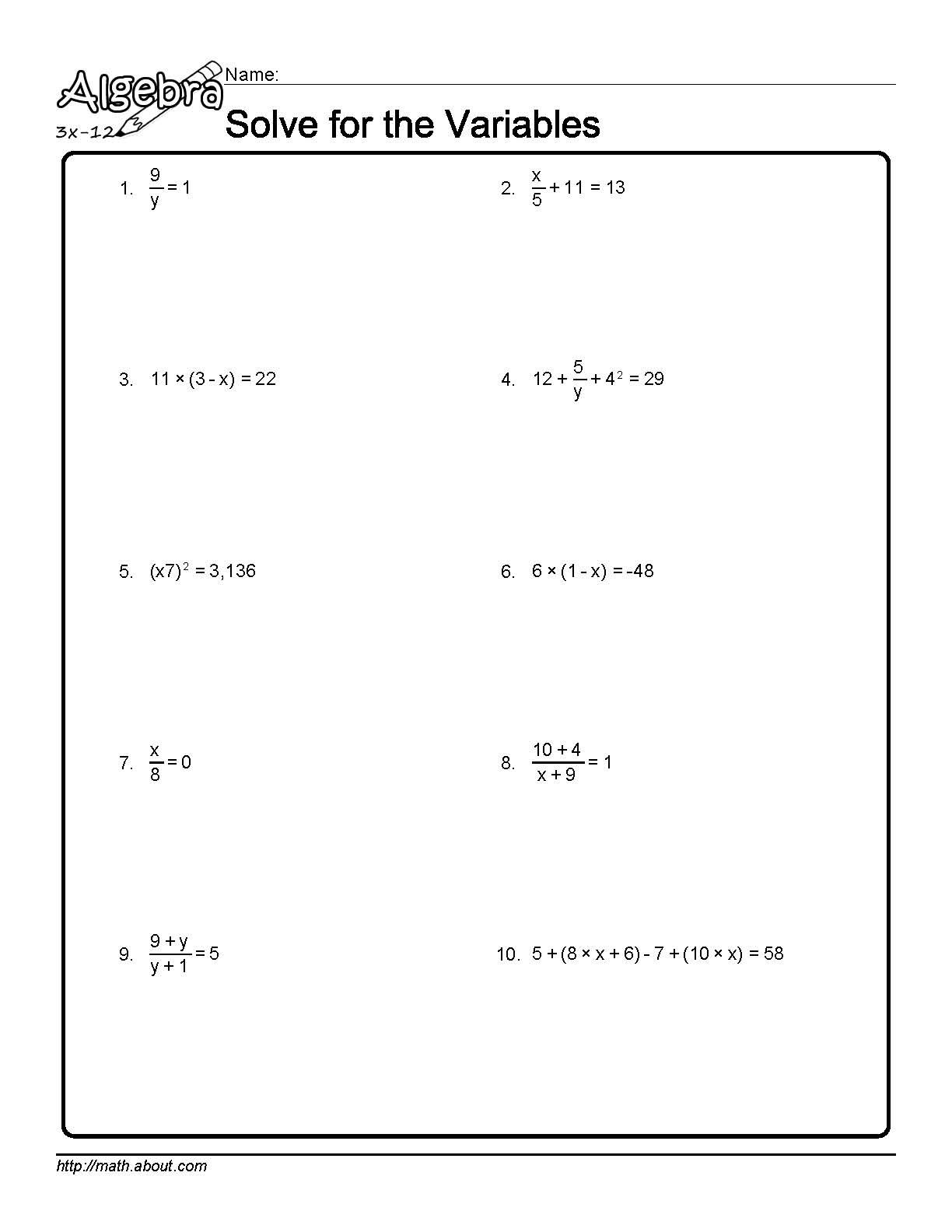 Uncategorized Foil Worksheets solve for the variables worksheet 1 of 10