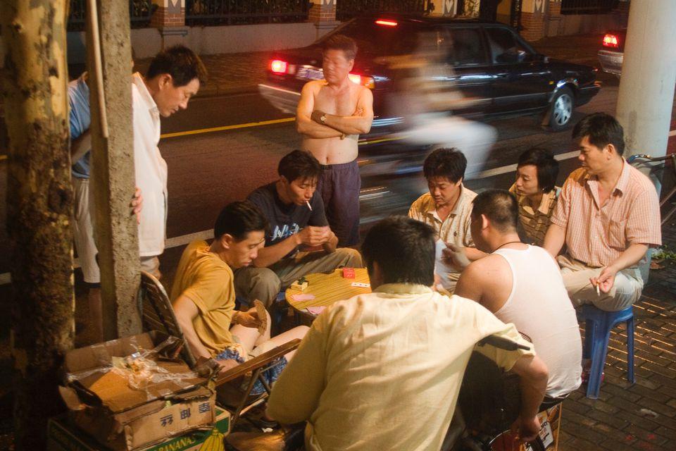shanghai street scene in summer