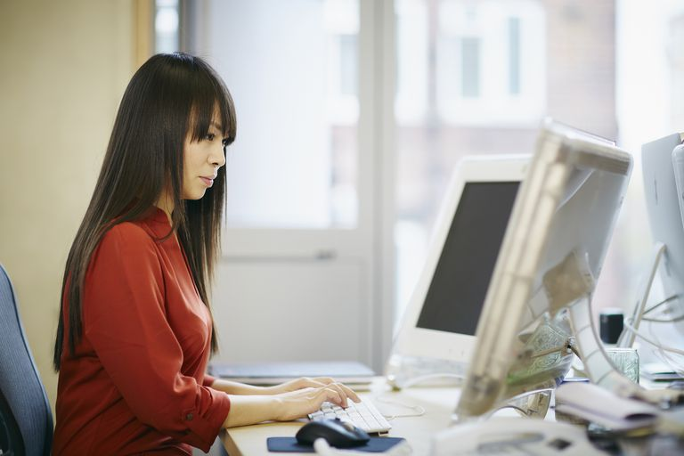 Woman on computer in office