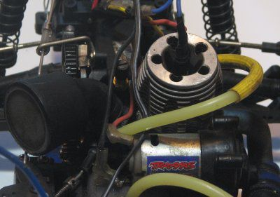 Engine on a Nitro Traxxas Rustler.