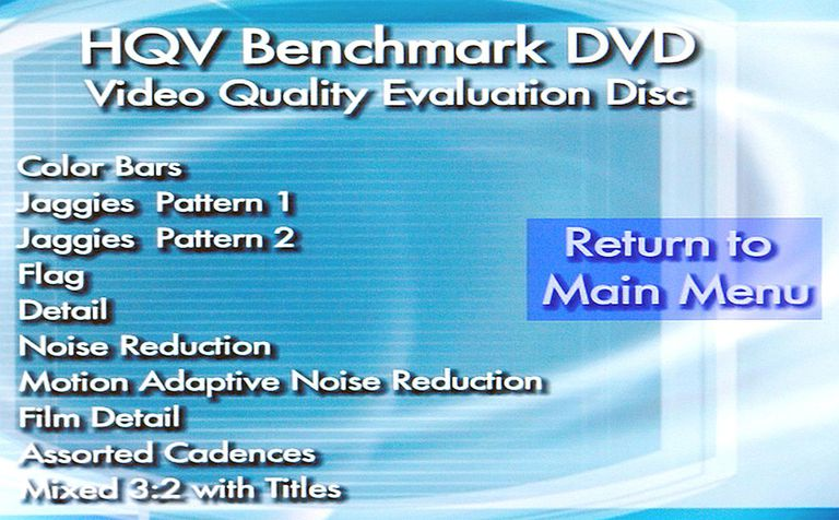 HQV Benchmark DVD Video Quality Evaluation Test Disc - Test List