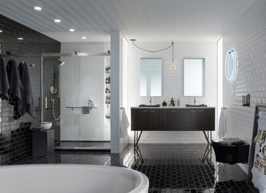 Beautiful Bathrooms With Subway Tile - Bathroom tile patterns black and white