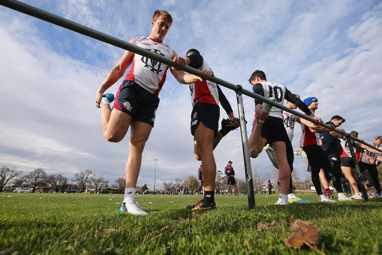 MELBOURNE, AUSTRALIA - JULY 22: Aaron Vandenberg of the Demons stretches during a Melbourne Demons AFL training session at AAMI Park on July 22, 2015 in Melbourne, Australia.