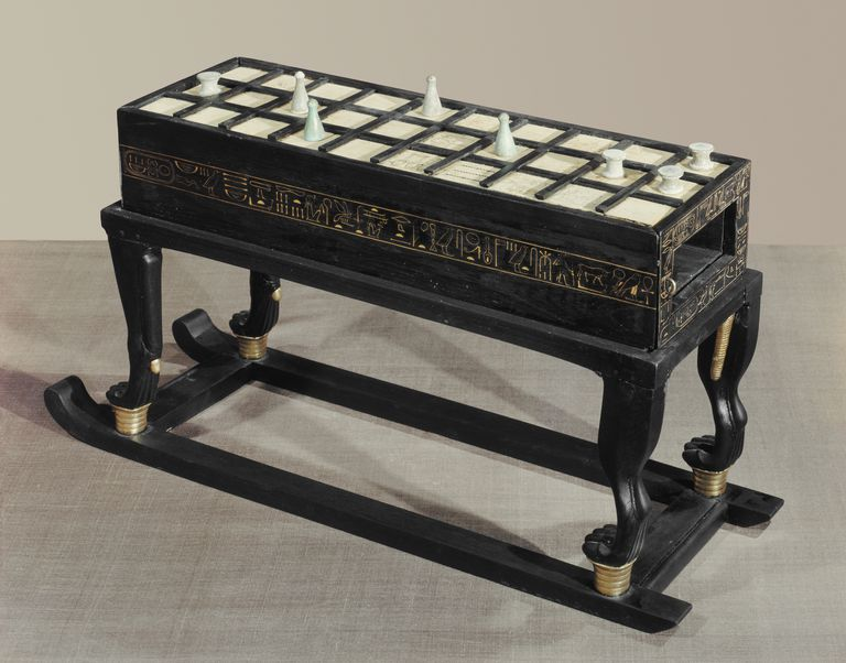 A board game of senet, in ebony and ivory, from the tomb of the pharaoh Tutankhamun, discovered in the Valley of the Kings, Thebes, Egypt, North Africa, Africa