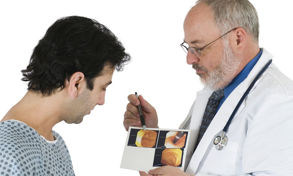 Discussing colonoscopy results.
