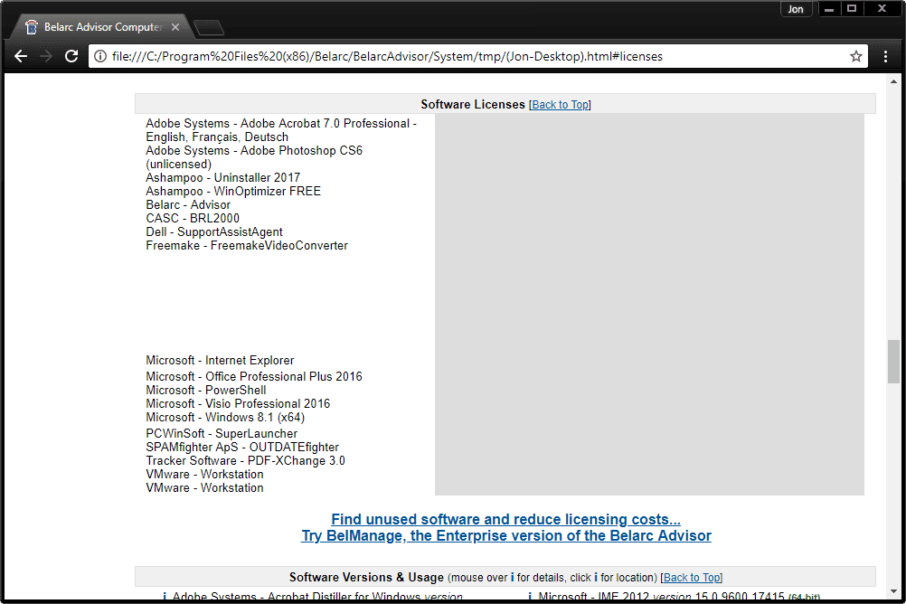 Screenshot of software licenses found by Belarc Advisor