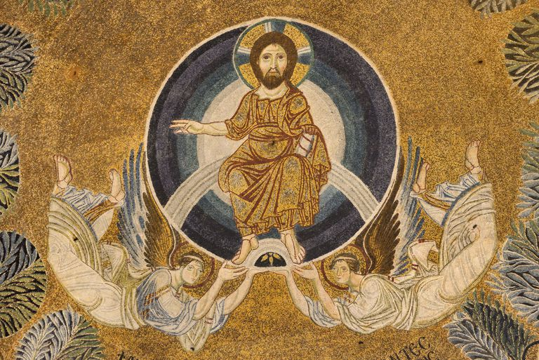Paleochristian mosaic of the Ascension of Jesus Christ at Agia Sophia church