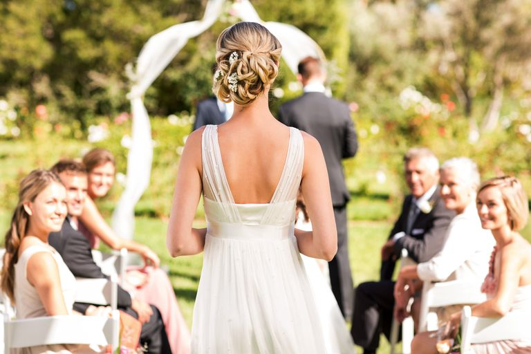 Free wedding stuff to help you save on your big day bride walking down the aisle during wedding ceremony junglespirit Images