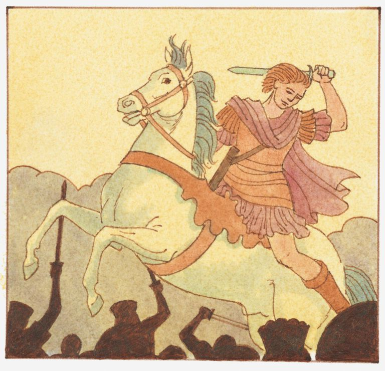 llustration of Alexander the Great on in battle on horseback with sword above head