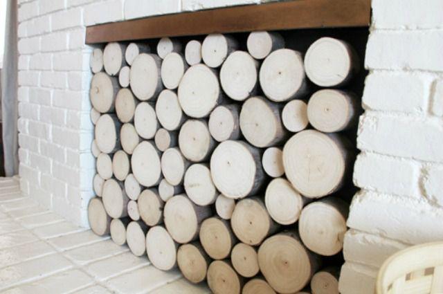 faux firewood facade