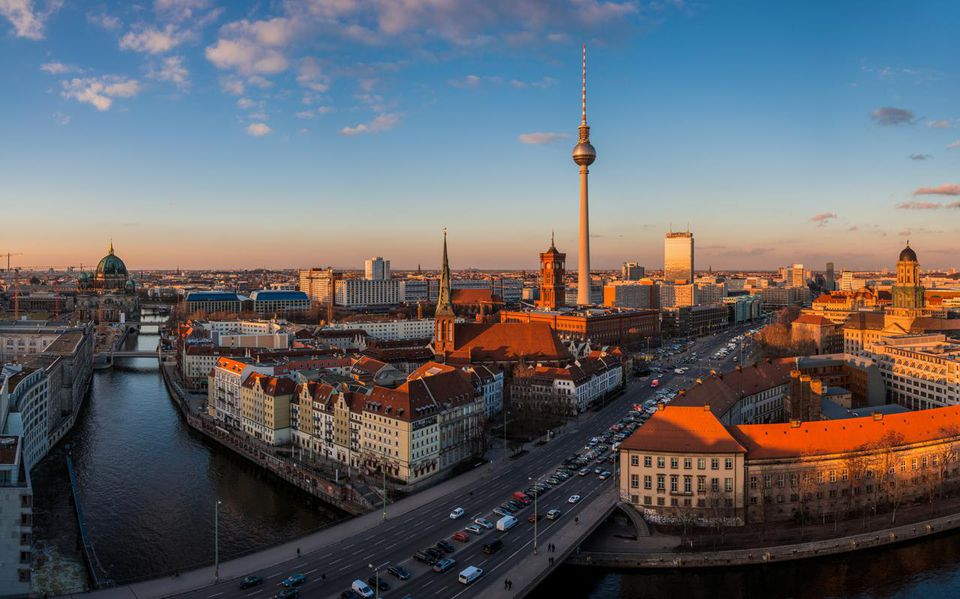 Berlin Skyline during Sunset