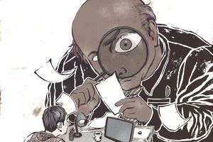 cartoon of big boss looming over businessman at desk