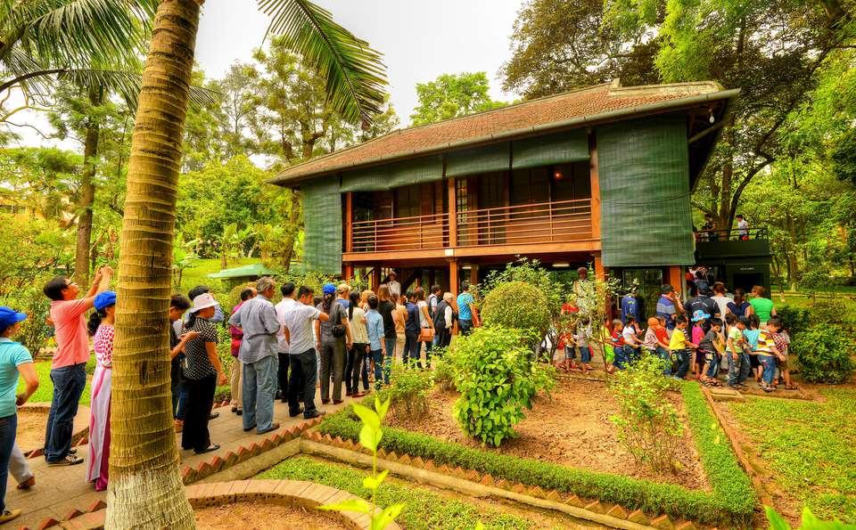 Long lines to get inside Ho Chi Minh's Stilt House in Hanoi