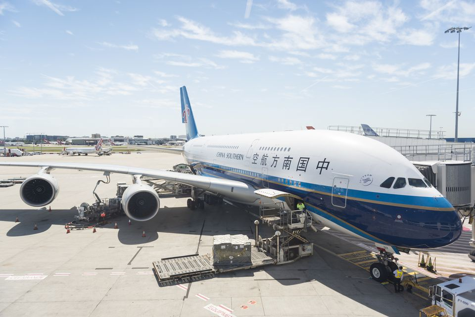 A China Southern Airbus waiting to taxi.